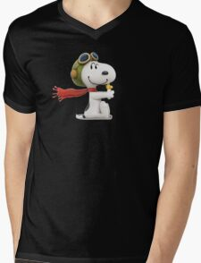 snoopy pillot Mens V-Neck T-Shirt