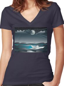 Paper Boat in the Sea 3 Women's Fitted V-Neck T-Shirt