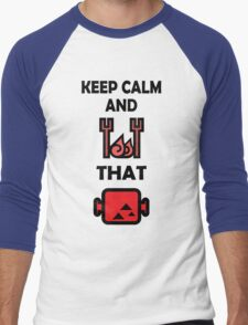Keep Calm and BBQ that Meat Men's Baseball ¾ T-Shirt