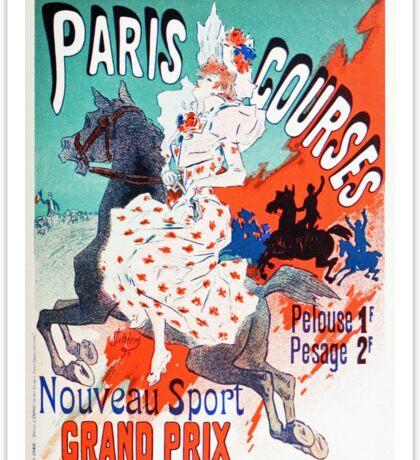 Vintage Jules Cheret 1896 Paris Courses Sticker