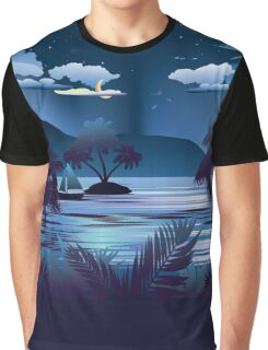 Tropical Island at Night Graphic T-Shirt