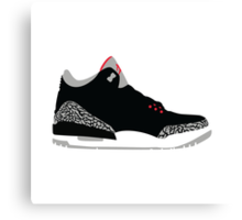 AIR JORDAN III (3) BLACK Canvas Print