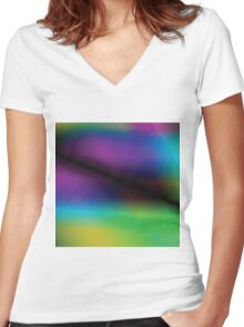 multicolor abstract background Women's Fitted V-Neck T-Shirt
