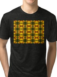 Sunflower with Bee Macro Pattern Tri-blend T-Shirt