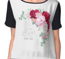 Floral vector frame with peony, alstroemeria lily, eucaliptus and ranunculus leaves on white. Pink, white and burgundy red flowers. Chiffon Top