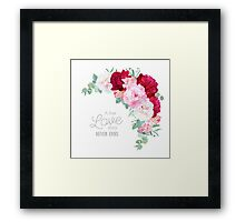 Floral vector frame with peony, alstroemeria lily, eucaliptus and ranunculus leaves on white. Pink, white and burgundy red flowers. Framed Print