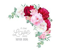 Floral vector frame with peony, alstroemeria lily, eucaliptus and ranunculus leaves on white. Pink, white and burgundy red flowers. Photographic Print