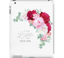 Floral vector frame with peony, alstroemeria lily, eucaliptus and ranunculus leaves on white. Pink, white and burgundy red flowers. iPad Case/Skin