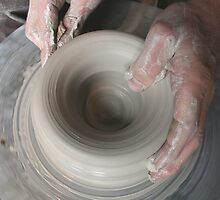 Hands On Potters Wheel by Tara Golden