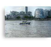Police Boat Cruising Past City Hall Canvas Print
