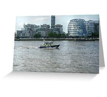 Police Boat Cruising Past City Hall Greeting Card