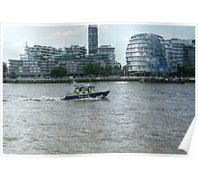 Police Boat Cruising Past City Hall Poster