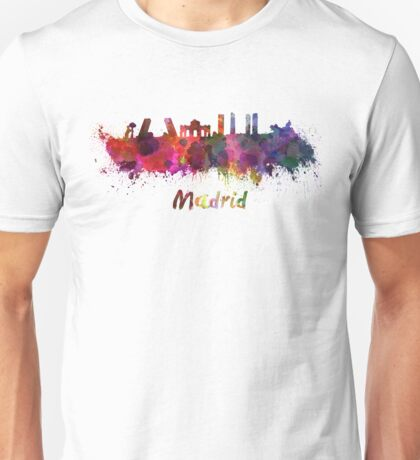 Madrid skyline in watercolor Unisex T-Shirt