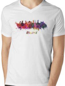 Madrid skyline in watercolor Mens V-Neck T-Shirt