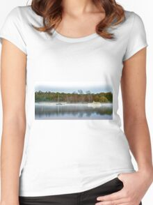 The cold morning sunrise Lake Burley Griffin. Women's Fitted Scoop T-Shirt