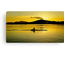 Cold Training Morning row. Canvas Print