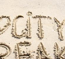 I Love City Breaks message written on sand Sticker