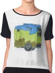 Emu Dreaming Over Cosy Caravan Landscape    Chiffon Top