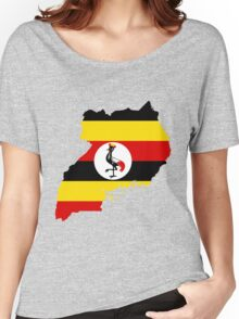 Uganda Flag Map Women's Relaxed Fit T-Shirt