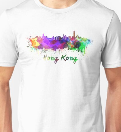 Hong Kong skyline in watercolor Unisex T-Shirt