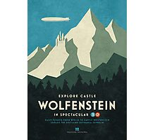 Castle Wolfenstein Vintage Tourism (3D Blue) Photographic Print