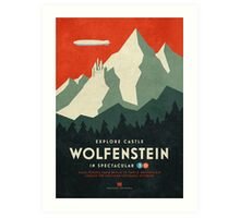 Castle Wolfenstein Vintage Tourism (3D Red) Art Print