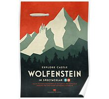 Castle Wolfenstein Vintage Tourism (3D Red) Poster