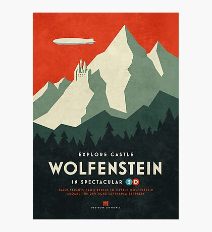Castle Wolfenstein Vintage Tourism (3D Red) Photographic Print