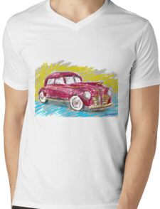 Old Red Plymouth Sketch Mens V-Neck T-Shirt