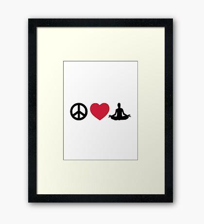 Peace love Yoga Framed Print