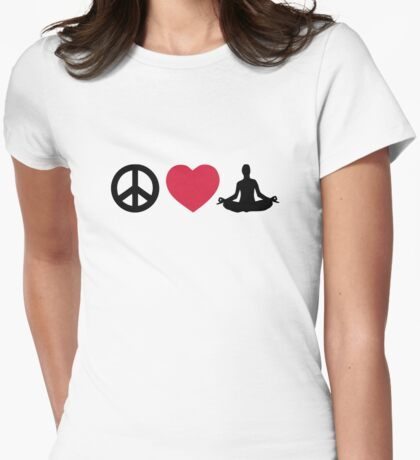 Peace love Yoga Womens Fitted T-Shirt