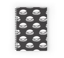 Black and White Burger Pattern Outline Spiral Notebook