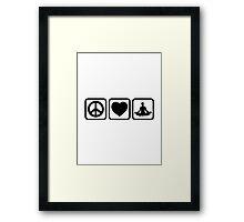 Peace love heart Yoga Framed Print
