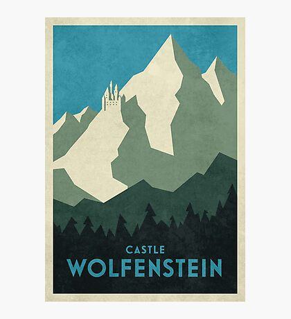 Castle Wolfenstein Vintage Tourism (Border Plain Blue) Photographic Print