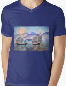 Shades of Tranquility - Cubist Junks Mens V-Neck T-Shirt