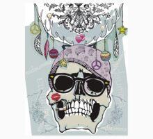 Hipster skull mashup Kids Tee