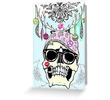 Hipster skull mashup Greeting Card