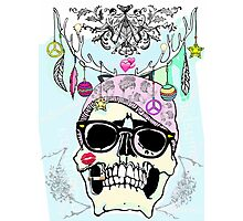 Hipster skull mashup Photographic Print
