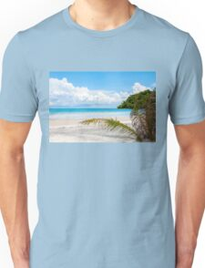 Exotic tropical beach with white sand and blue waters Unisex T-Shirt