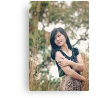 portrait of a beautiful asian woman smiling brightly Canvas Print