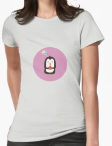 Penguin with melon   Womens Fitted T-Shirt