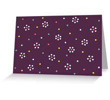 Floral Pattern In Purple And Dots Greeting Card