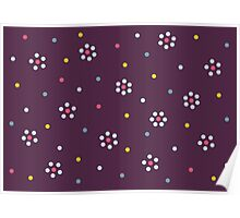 Floral Pattern In Purple And Dots Poster