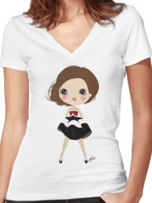 Happy smiling girl Women's Fitted V-Neck T-Shirt