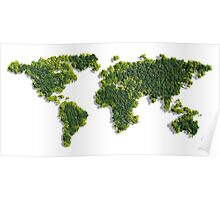 World Map made of green trees Poster