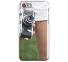 Woman with retro camera iPhone Case/Skin