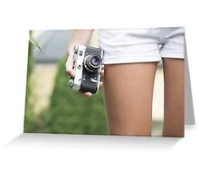 Woman with retro camera Greeting Card
