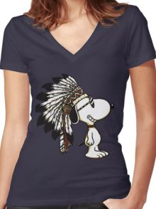 CUTE INDIANA DOG Women's Fitted V-Neck T-Shirt