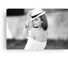 Portrait of beautiful blond woman in white retro hat Canvas Print