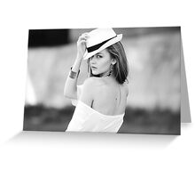 Portrait of beautiful blond woman in white retro hat Greeting Card